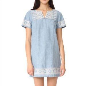 Madewell chambray embroidered mini dress